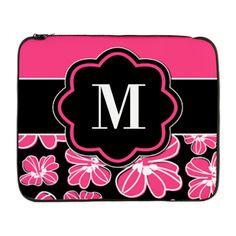 "Pink Black Floral Monogram 17"" Laptop Sleeve"