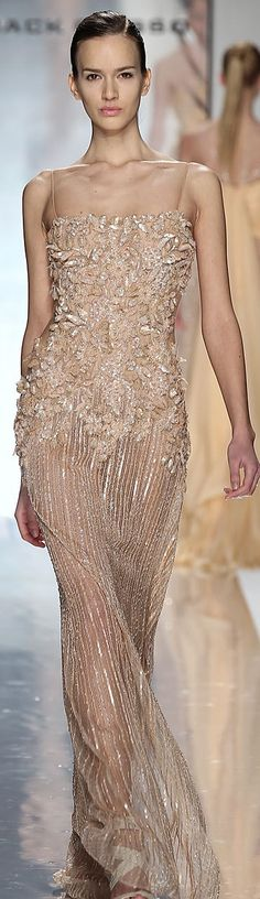 Jack Guisso ~ Couture Spring Nude Gown w Floral Embroidered Bodice + Sheer Skirt w Silver Metallic Detail 2012