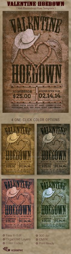 Valentine Hoedown Country Flyer Template is great for any western or country theme event, Use it for Hoedown, Rodeo Shows or Happy Hour. In this package youll find 1 Photoshop file. 4 One-Click color options are included. All layers are arranged, color coded and simple to edit. Sold exclusively on graphicriver.net This template is a Photoshop Temp