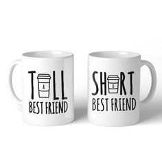 Tall And Short Best Friend BFF Mugs Christmas Birthday Gifts, White (Ceramic)