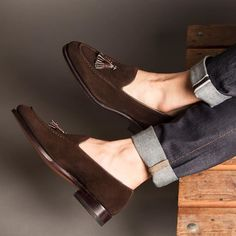 Meermin - Brown suede slip on with contrasting brown calf. Hot Shoes, Men's Shoes, Shoe Boots, Dress Shoes, Shoes Men, Suede Shoes, Slip On Shoes, Leather Shoes, Brown Loafers