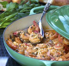 Greek-Style Garlicky Shrimp with Feta | panningtheglobe.com #shrimp