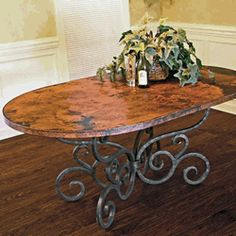 This Alexander Oval Dining Table features a Traditional wrought iron table base available in 4 finishes and your choice of x Oval copper top Zinc Table, Copper Table, Oval Table, Iron Table, Craftsman Dining Tables, Colorful Furniture, End Tables, Coffee Tables, Wrought Iron