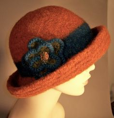 Felted Rust Hat with Brim by yoursbydesign on Etsy, $69.00