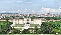 Schloss Schonbrunn and city view Vienna