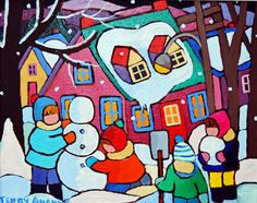 Snowy Days Are Here, Original painting by Canadian artist Terry Ananny - TERRY ANANNY- Gallery On The Lake, Buckhorn, OntarioANANNY