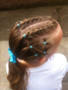 These braids short girl hairstyles are stylish. Cute Girls Hairstyles, Pretty Hairstyles, Braided Hairstyles, Wedding Hairstyles, Girl Hair Dos, Baby Girl Hair, Competition Hair, Gymnastics Competition, Natural Hair Styles