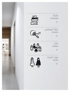 Clean signage combined with organic symbols. #design #signage #sign #wayfinding #black #white #illustration #levels