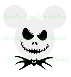 Mickey Jack Skeleton Nightmare Before Christmas Silhouette Cricut SVG Studio INSTANT DOWNLOAD - Whimsical Embroidery Designs