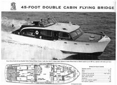 1954 45' Chris Craft Double Cabin Flying Bridge Cruiser ad and specs.