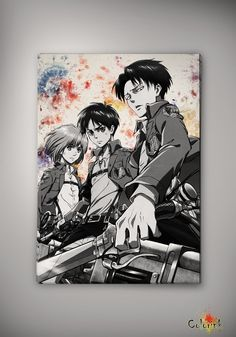 Image of Attack on Titan - Shingeki no Kyojin - Eren Yeager - Mikasa Ackermann - Levi Rivaille n127