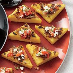 Polenta Toasts with Balsamic Onions, Roasted Peppers, Feta, and Thyme go beyond the traditional base of baguettes for serving these savory bites. Get a jump-start on these appetizers and prepare the polenta and onions a few days in advance. Thyme Recipes, Polenta Recipes, Holiday Party Appetizers, Appetizer Party, Holiday Parties, Wine Appetizers, Balsamic Onions, Cooking Light Recipes, Recipe Finder
