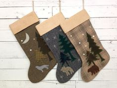 Personalized Family Christmas Stockings **The LISTING PRICE is for ONE STOCKING** ~These rustic Christmas stockings are made from various colors of wool fabric. The backing fabric is the same as the front on each stocking. ~The bear is made from brown tweed wool fabric. ~The wolf howling