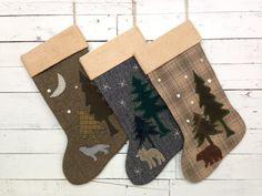 Personalized Christmas Stockings, Rustic Christmas Stocking, Family Stockings,Cabin Stocking,  Bear,Wolf,Moose Stocking,Christmas Decoration