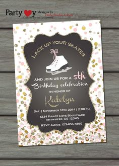 Winter Birthday Invitation Ice Skating by PartyInvitesAndMore