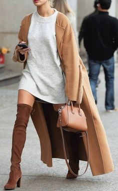 #winter #fashion /  Camel Coat // Grey Dress // Camel Over The Knee Boots