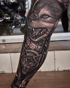 Human beings are fundamentally social animals, who can learn from each other and other animal species. Every type of animal may exhibit unique Wolf Tattoos Men, Cool Arm Tattoos, Animal Tattoos, Leg Tattoos, Wolf And Moon Tattoo, Wolf Tattoo Back, Wolf Tattoo Sleeve, Wolf Tattoo Design, Tattoo Designs
