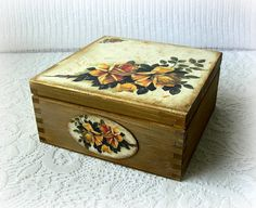 Vintage style wooden tea box  jewelry box  by CarmenHandCrafts