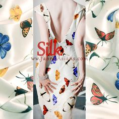 SILK 19 mumi. Butterfly Printed Silk. by fabricAsians on Etsy