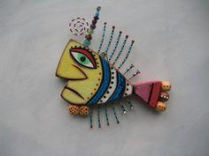 Twisted Fish Original Found Object Sculpture Wall by FigJamStudio, $62.00