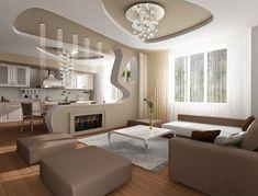 un plafond suspendu design original pour le salon, meubles marrons