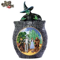 The Wizard Of Oz Cookie Jar With Wicked Witch Of The West, Dorothy, Scarecrow, Tin Man, And The Cowardly Lion by The Bradford Exchange Cookie Cutter Recipes, Cookie Cutters, Wizard Of Oz Decor, Wizard Of Oz Collectibles, Cowardly Lion, Bradford Exchange, Tin Man, Yellow Brick Road, Cute Cookies