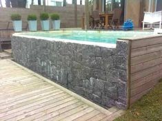 como hacer piscina de obra elevada Mini Piscina, Backyard Pool Designs, Ana White, Outdoor Decor, Home Decor, Gardens, Small Spaces, Log Projects, Wooden Garden Benches
