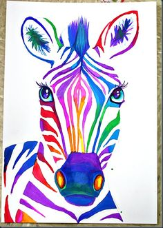 Colorful zebra via elementary artful.blogspot.ca #kidsart #kidsartblogs