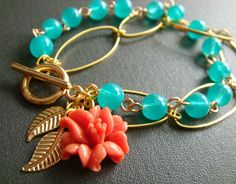 SALE++maylily++luau++turquoise+and+coral+bracelet+by+trystbykerry,+$25.00