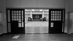 Looking into the martial arts gym on the grounds of Osaka Castle, Japan.