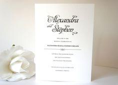 Simple Elegant Program - Wedding Ceremony Programs, Black Wedding Programs, Simple, Elegant, Modern Wedding Program - DEPOSIT