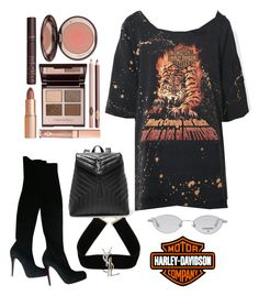 """HARLEY- DAVIDSON WITH A BAD BIH TWIST 💣"" by serenadarwiche on Polyvore featuring Christian Louboutin, Yves Saint Laurent, Charlotte Tilbury, Chanel and Harley-Davidson"