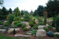 90 Beautiful Front Yard Rock Garden Landscaping Ideas - nearra news Sloped Garden, Outdoor, Landscape Design, Rock Garden Design, Landscaping With Boulders, Outdoor Gardens, Rock Garden Landscaping, Hillside Landscaping, Backyard