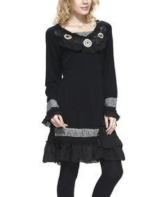 Another great find on #zulily! Black Asymmetrical Ruffle Peasant Tunic #zulilyfinds