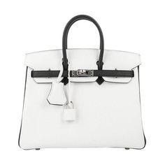 77dfdb409342 Hermes Birkin 25 Bag Hss White W  Black Clemence Palladium Hardware