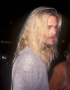 "stellarexplosion: "" "" nadi-kon: "" ""Brad, 1994 "" "" Jesus Christ "" God bless the "" Jennifer Aniston, Angelina Jolie, Junger Brad Pitt, Brad Pitt Movies, Long Hair Beard, Nick Robinson, Hollywood, Beard Styles, Chris Evans"