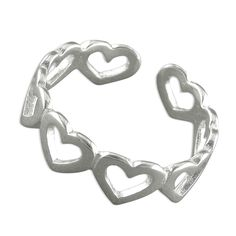 Hearts Toe Ring Sterling Silver