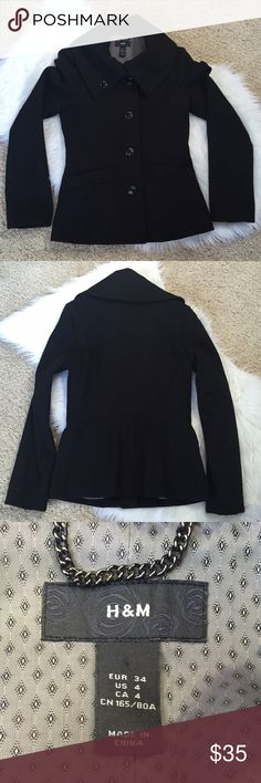 """{H&M} Black Pea Coat {H&M} Black Pea Coat. Size: 4. Fully lined. Only worn a couple times. EUC. Total length from top of shoulder to hem is: 25"""". H&M Jackets & Coats Pea Coats"""
