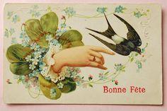 アンティークポストカード*四ツ葉のクローバーと美しい手とツバメ の通販 | カラメル