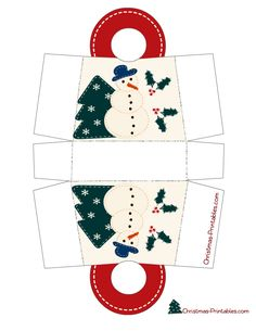 christmas goodie bag printables | This Christmas bag is decorated with image of a snowman standing by a ...