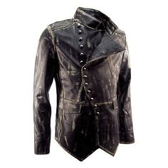 Mens New Designer Steampunk Military Rock Distressed Military Leather Jacket | eBay