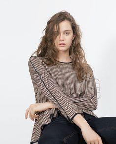 Image 3 of PEPLUM CHECK SHIRT from Zara