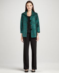 Pebble Jacquard Jacket, Basic Stretch Tank & Stretch-Gabardine Travel Pants, Women\'s by Caroline Rose at Neiman Marcus.