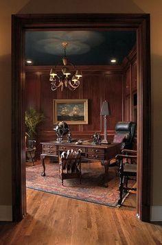 Mahagoni getäfelte Studie – Octopus Chandelier – Home Office Design İdeas Modern Home Offices, Modern Office Decor, Home Office Decor, Office Ideas, Home Decor, Vintage Office Decor, Men Office, Retro Office, Vintage Library
