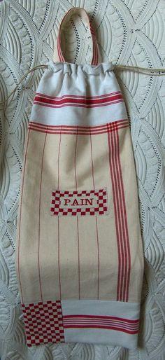 Sac à pain patchwork torchons vichy rouge                                                                                                                                                      Plus