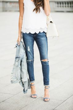 Chic Style | Scallope top, denin jacket, Ripped jeans and heels