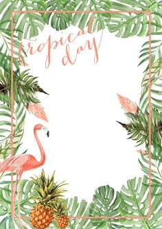 ideas for party tropical convite Flamingo Party, Flamingo Birthday, Aloha Party, Luau Party, Party Summer, Hawaian Party, Tropical Vibes, Estilo Tropical, Tropical Design
