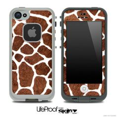 Real Giraffe Animal Print Skin for the iPhone 4/4s or 5 LifeProof Case on Etsy, $9.99