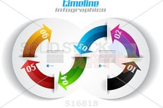 stock illustration of infographic design curving multicolored arrows on white horizontal background