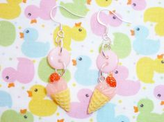 Scoop O' Strawberry  Pink Button and Ice Cream by NiNEFRUiTSPiE, £3.00